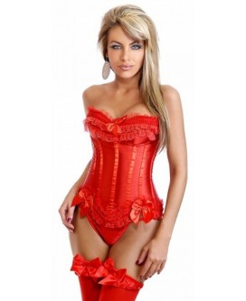 "Bonito CORSÉ de raso ROJO tipo ""Moulin Rouge"" con tanga a juego - N6144-1"
