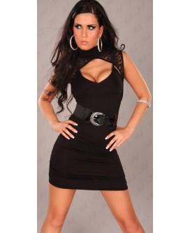 Mini vestido de noche de color negro con encaje, cinturón y tanga