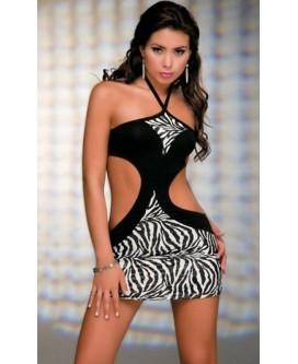 Mini vestido de noche con estampado zebra con tanga