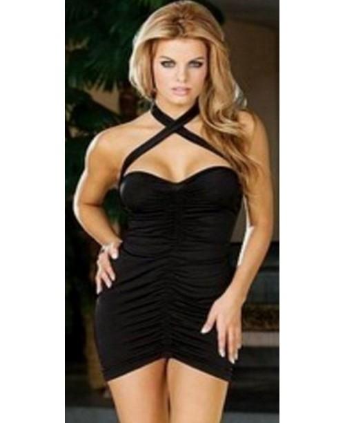 Mini vestido de noche de color negro con tirantes cruzados al cuello y tanga
