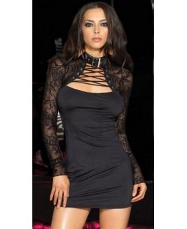 Mini vestido de noche de color negro con encaje y tanga - N2306