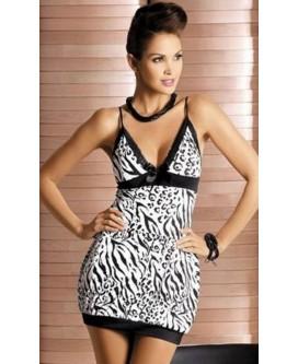 Mini vestido de noche con estampado de color blanco y negro con tanga - XY6072