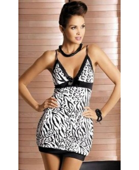 Mini vestido de noche con estampado de color blanco y negro con tanga