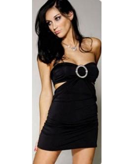 Mini vestido de noche de color negro con adorno de brillantes y tanga - QD345-1