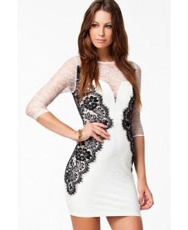Vestido de noche corto de color blanco con encajes blancos y negros - VE2989-1