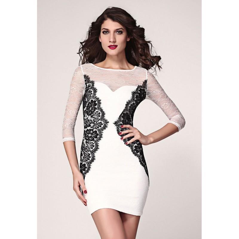 77d2cd2985 ... Vestido de noche corto de color blanco con encajes blancos y negros  -LC2989-4 ...