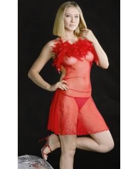 Sexy BABYDOLL / PICARDÍAS rojo transparente + TANGA