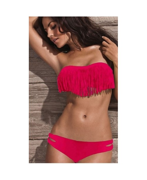 Sexy Bikini con flecos de color fucsia - BK5424-1